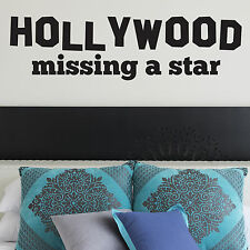 HOLLYWOOD, LARGE WALL STICKER, Star, Missing, Talent, Decal, WallArt, SS693