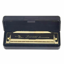New Swan Harmonica 10 Holes Key of C for Blues Rock Jazz Folk + Case Silver/Gold