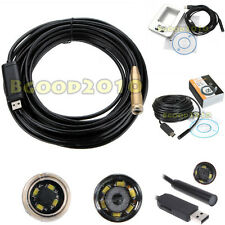 2/5/7/10/15m USB Waterproof Endoscope Borescope Inspection SnakeTube Camera NEW
