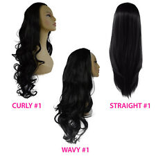 Ladies 3/4 WIG Half Fall Clip In Hair Piece Jet Black #1 Stunning Styles