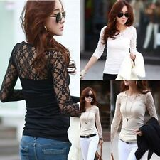 Korean Women Lady Sexy Lace Sheer Splicing Long Sleeve Slim Tops Blouse T Shirt