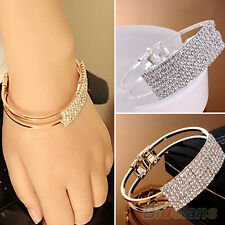 Popular 2 Rows Metal Crystal Hand Chain Cuff Bracelet Rhinestone Alloy Bangle