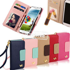 FLIP MIRROR WALLET CARD HOLDER PU LEATHER CASE COVER FOR SAMSUNG GALAXY S3 S4 S5