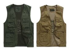 Men Military Outdoor Vest Jacket Off-Road Cotton Top Sport Fishing Camping Cool
