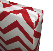 le02t Red Off White Zig Zag Cotton Canvas 3D Box Seat Cushion Cover Custom Size