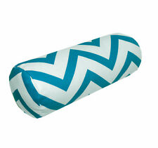 le03g Turquoise Off White Zig Zag Cotton Canvas Yoga Case Bolster Cushion Cover