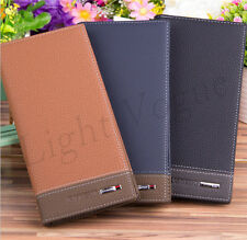 New Men Long Casual Leather Wallet Pockets Card Clutch Cente Bifold Purse Clip n