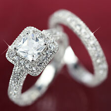 18K WHITE GOLD GF R148 SQUARE ANNIVERSARY WEDDING DIAMONDS WOMENS SOLID RING SET