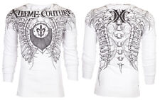 Xtreme Couture AFFLICTION Mens THERMAL T-Shirt VERTEBRAE Tattoo Biker M-3XL $58