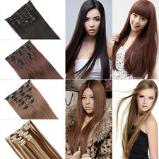 "22"" 55cm Women Long Straight 7 Pieces Clip In full head Hair Extension 4 colors"