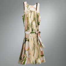 Simply Vera Wang Floral Brushtroke Chiffon Pleated Shift Dress Petite M L NEW