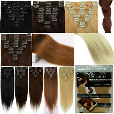 """Fashion feel 16""""18""""20""""22"""" straight clip in-on human hair extensions any color"""