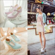 Fashion Women PU T-STRAP Shoes Korean Ladies Platform chunky heels buckle Shoes