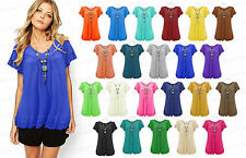 Womens Gypsy Frill Necklace Tunic Summer V Neck Plus Size Blouse Tops 12-26