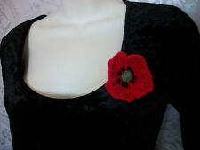 "Poppy brooch Knitted Handmade Small 3"" Corsage Pin"