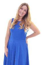 Womens Dress Ladies Skater Lace Neck Plus Size Sleeveless Sweetheart Nouvelle