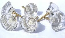 Glass / Cut glass large clear crystal drawer & cupboard pulls door knobs 50mm