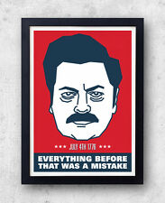 Ron Swanson Poster, Parks and Recreation, July 4th 1776, Independence Day,