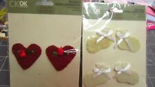 SCRAPBOOKING EMBELLISHMENTS:BEADED BABY SHOES;RED HEARTS-CREATING KEEPSAKES