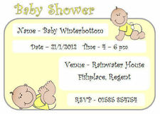 if Personalised SHOWER PARTY INVITATIONS, PK 10 + envs, new baby YELLOW UNISEX