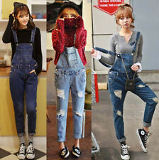 Women Korean Sexy Loose Hole Jeans Overalls Casual Long Pants Denim Jeans EQ316