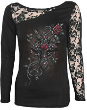 Spiral Direct ANGEL BEADS Long Sleeved Lace Shoulder,Woman/Goth/Gothic/Cross/Top
