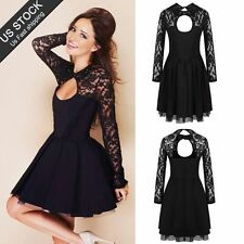 Womens Sexy Floral Lace Long Sleeve Backless Evening Party Bodycon Dress S-XXL