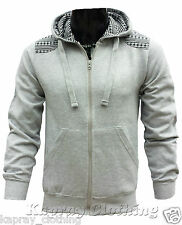 New Mens Diamond Patch Fleece Zip Up Hoody Hoodie Quilted Sweatshirt S M L XL