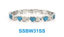 Silver with Turquoise stone Women magnetic stainless steel link Heart bracelet