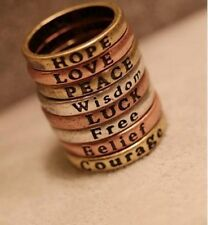 1pcs Hope/Love/Luck/Peace/Free/Belief/Wisdom/Courage Rings