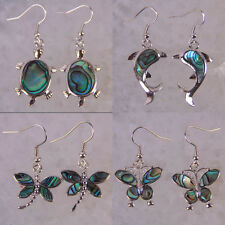 New Zealand Abalone Shell Turtle/Dolphin/Dragonfly/Butterfly Earrings Jewelry