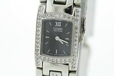 Ladies Citizen Eco-Drive Silhouette EW8140-54E  Black Dial Crystal Accent Watch
