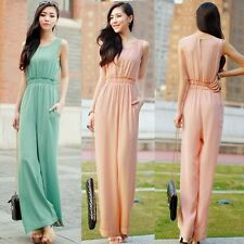 Loose Sleeveless Pockets Womens Wide Leg Jumpsuit Overalls Trousers Pants Vogue