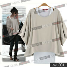 Fashion 2 In 1 New Hot Batwing style Loose Tops Blouses T-shirt Hot Sale