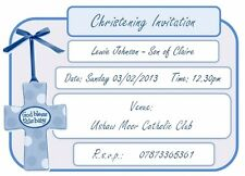 if Personalised CHRISTENING INVITATIONS, PK 10 + envelopes, new baby BLUE BOYS