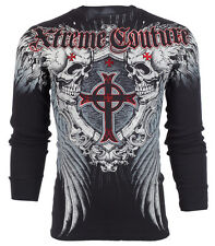Xtreme Couture AFFLICTION Mens THERMAL T-Shirt PULVERIZE Tattoo Biker M-3XL $58