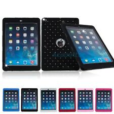 Dual Layer Heavy Duty Bling Crystal Hard Soft Rubber Case Cover for iPad Air 5th