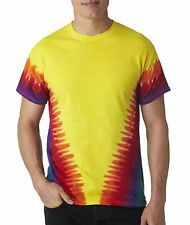 H1140 T Shirt Tie-Dye Flourescent Swirl and Vee Rainbow Cotton Unisex Basic