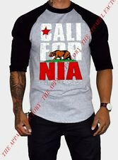 Men's California Bear Black Gray 3/4 Sleeve Baseball Raglan T Shirt cali ca dope