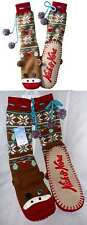Nick & Nora SOCK MONKEY Slippers Knit Mukluk-Socks-Womens Retro Kitschy S/M L/XL
