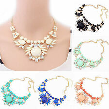 New Women Jewelry Flower Gem Crystal Bib Chunky Choker Statement Collar Necklace
