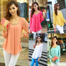 New Fashion Women's Loose Chiffon Tops Long Sleeve Shirt Casual Blouse