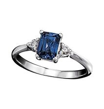 Sterling Silver Lab-Created Sapphire Ring with CZ Accents 6-10 Avon