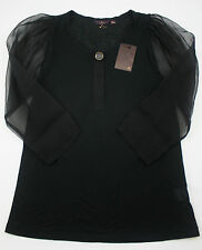 MULBERRY Silk Modal Stretch Black Neely Top (rrp £225) UK6-8 XS Blouse Shirt