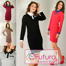 HOT DEAL ☼ Elegant Dress with Collar & Pocket ☼ Buttons Casual Size 8-16 FK1139