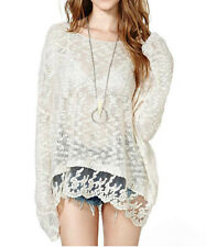 New Fashion Women Begie Lace Hem Loose Knitting Shirt Pullover Sweater Top Coat