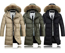 Mens business/Casual Long Duck Down jacket Thicken puffer parka Real fur hooded