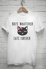 Cats forever boys whatever T shirt funny love animal tumblr tshirt Z084