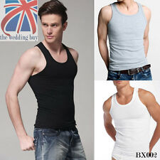 3 X MENS VESTS FITTED 100% Cotton TANK TOP SUMMER TRAINING GYM TOPS PACK BX002