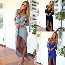 Women's Sexy Deep V-Neck Split Long Sleeve Maxi Dress Party Cocktail Clothes New